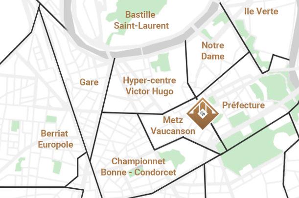 Map Agence locale Grenobloise pour l'estimation de votre appartement à Grenoble