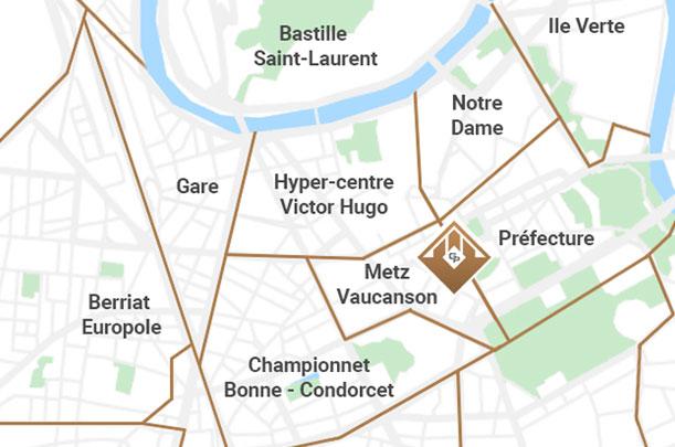 Carte des quartiers de l'estimation immobilière à Grenoble
